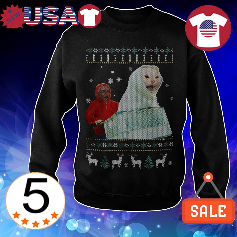ET Woman yelling at cats Christmas sweatshirt