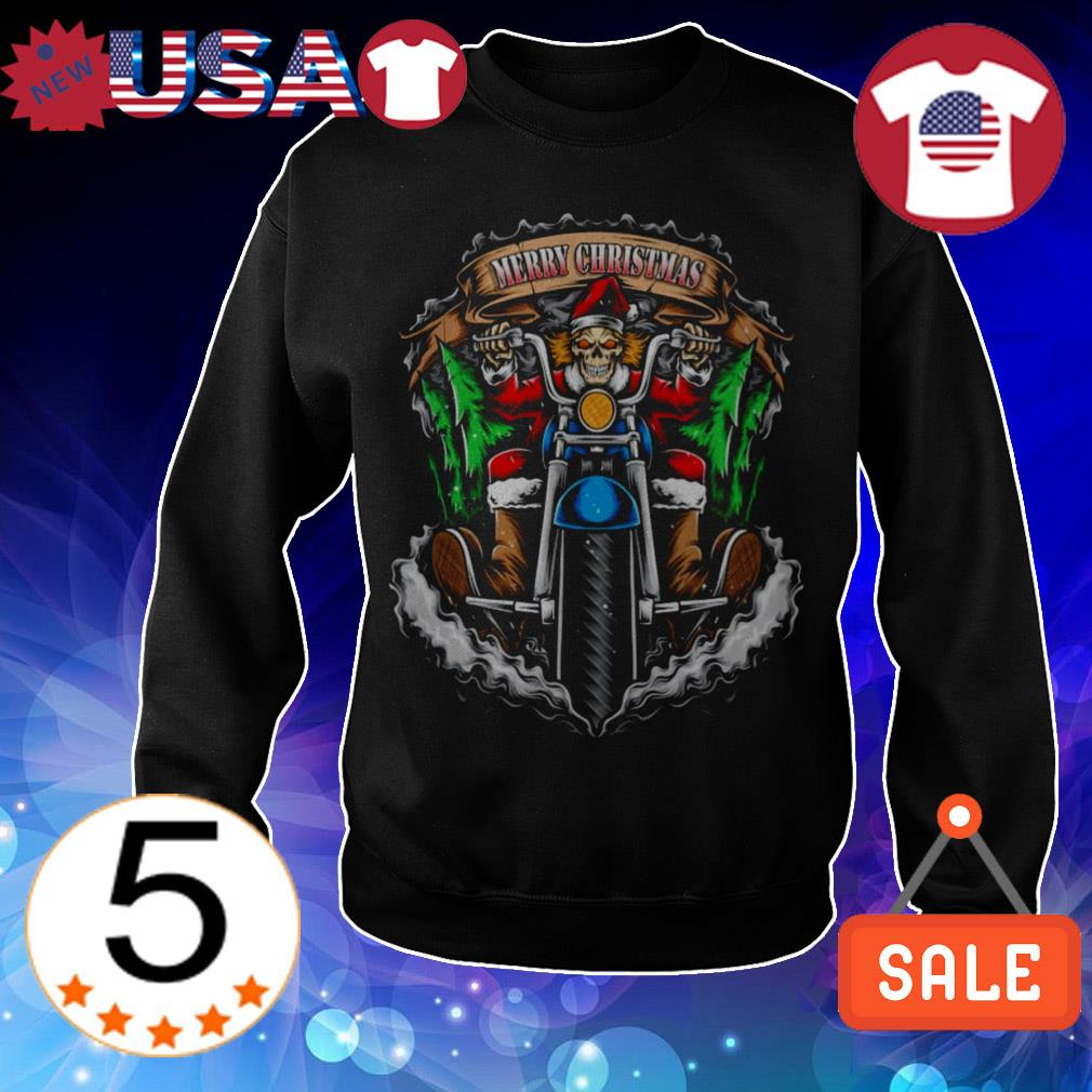 Santa Skull Biker Merry Christmas sweater