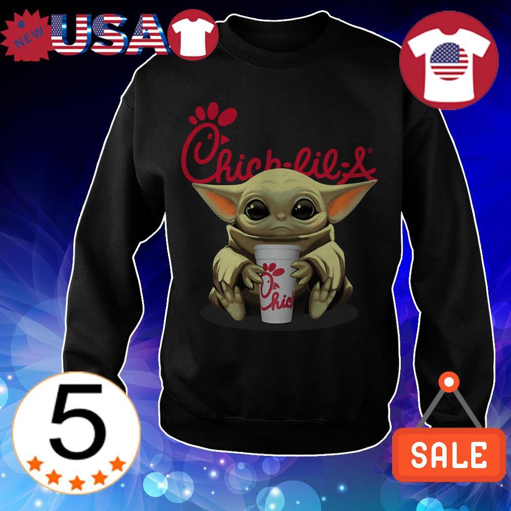 Star Wars Baby Yoda hug Chick Fil A Christmas sweatshirt
