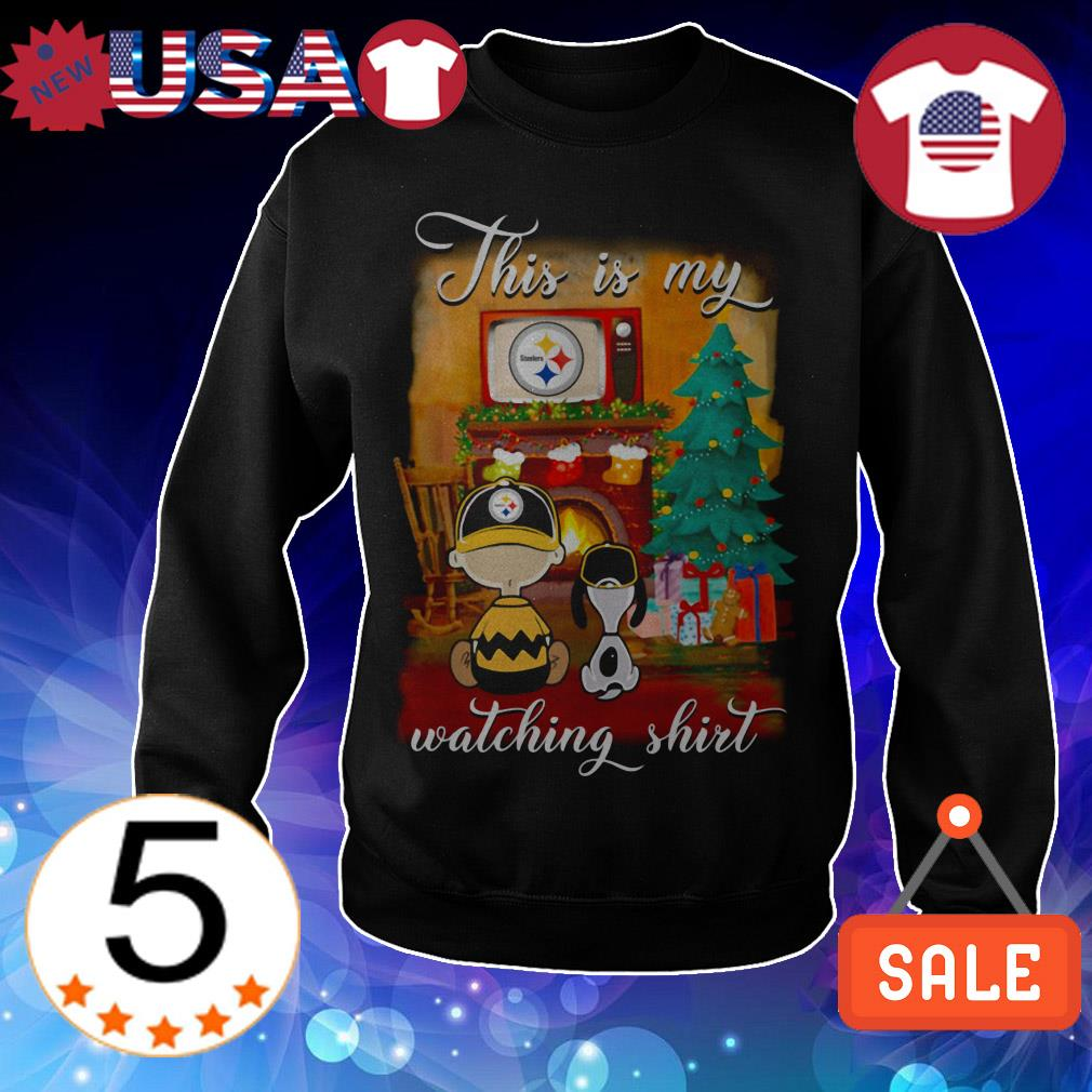 The Peanuts Snoopy and Charlie Brown watching Pittsburgh Steelers Christmas sweatshirt