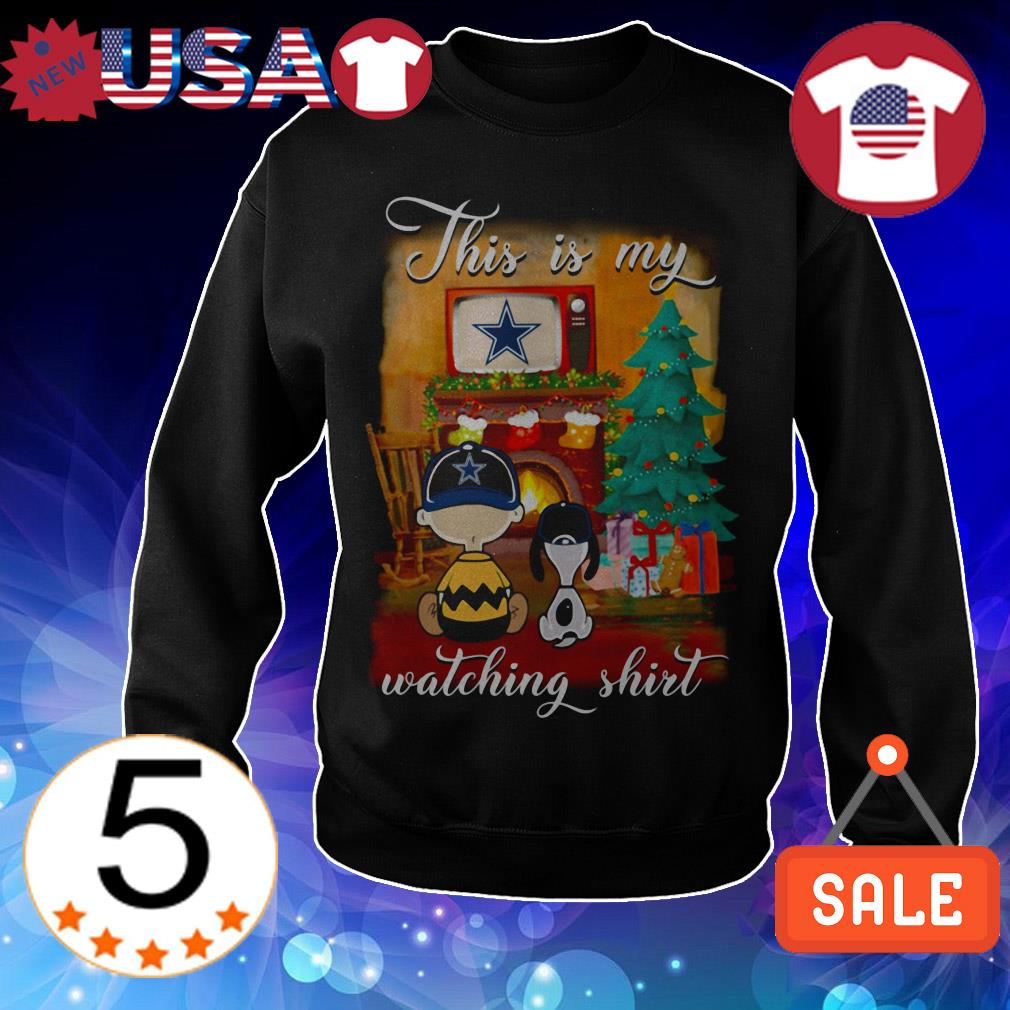 The Peanuts Snoopy and Charlie Brown watching Dallas CowBoys Christmas sweatshirt
