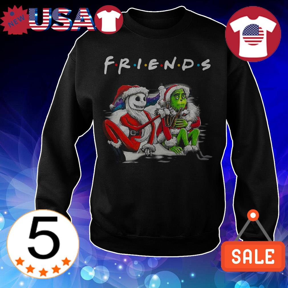 Santa Jack Skellington and Santa Grinch Friends TV Show Christmas sweatshirt