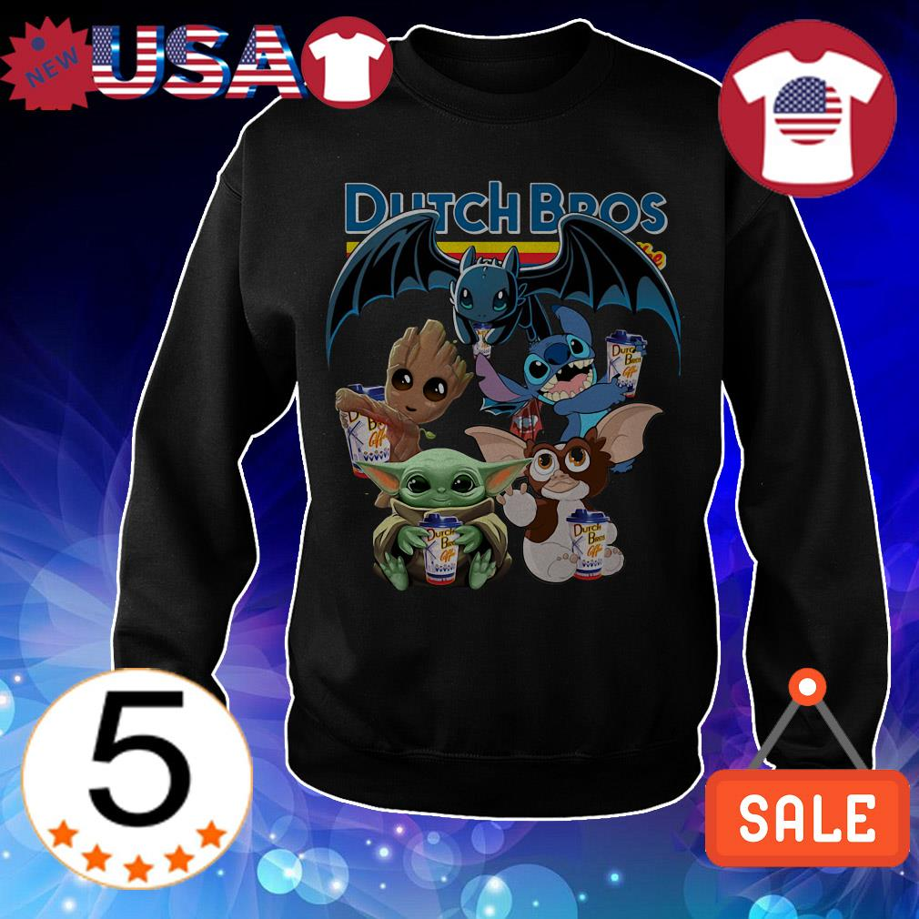 Dutch Bros Coffe Baby Yoda Groot Stitch toothless and Gremlins shirt