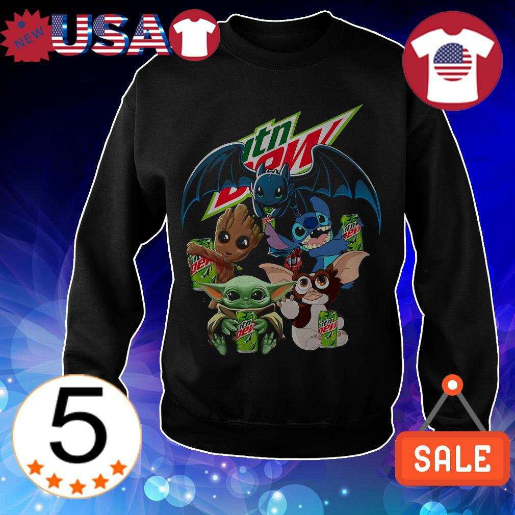 Mountain Dew Baby Yoda Groot Stitch toothless and Gremlins shirt