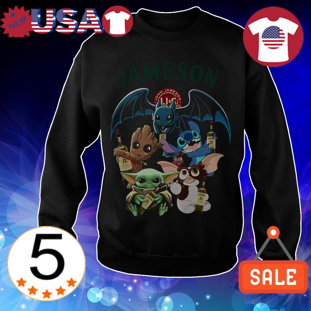 Jameson Irish Whiskey Baby Yoda Groot Stitch toothless and Gremlins shirt
