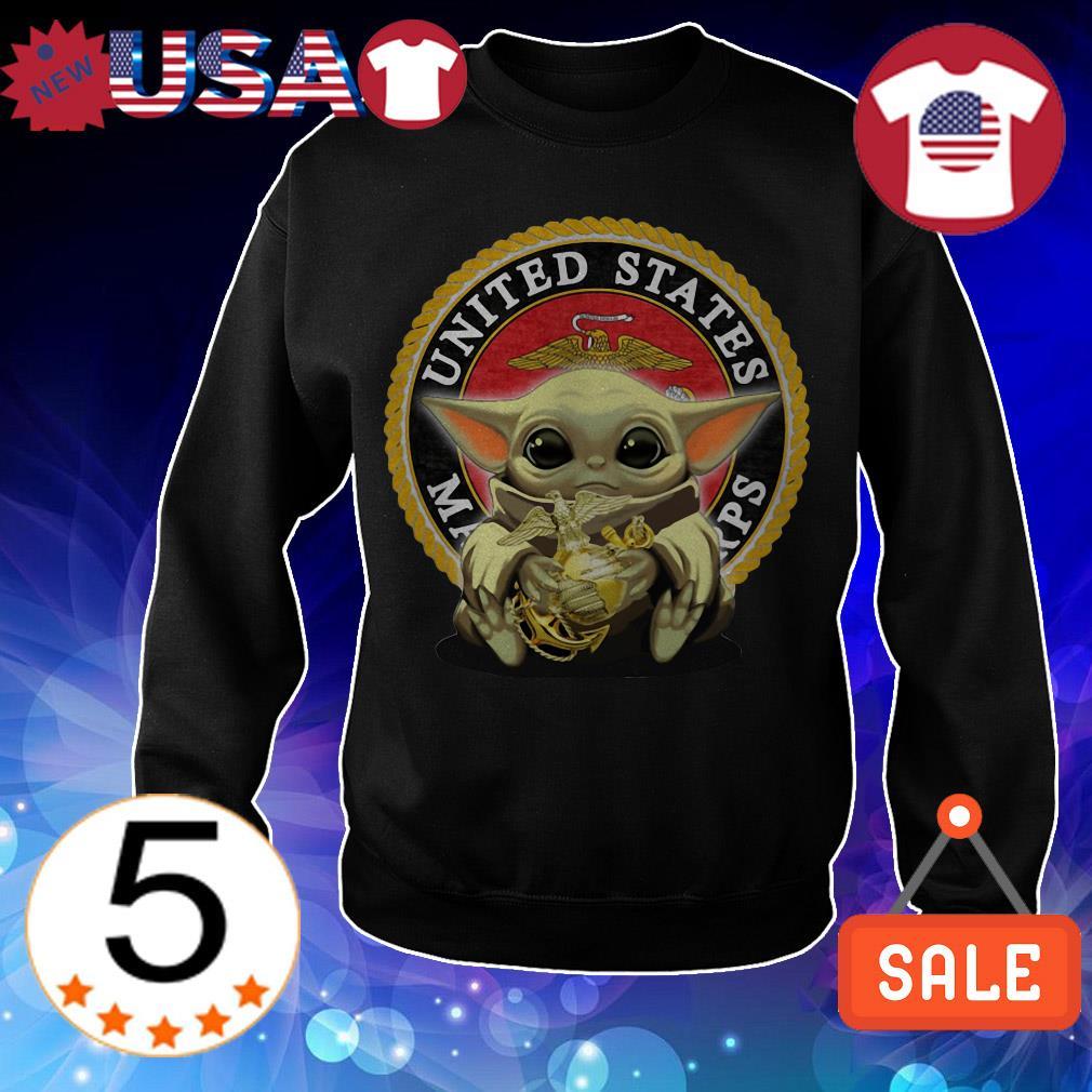Star Wars Baby Yoda hug Marine United States shirt