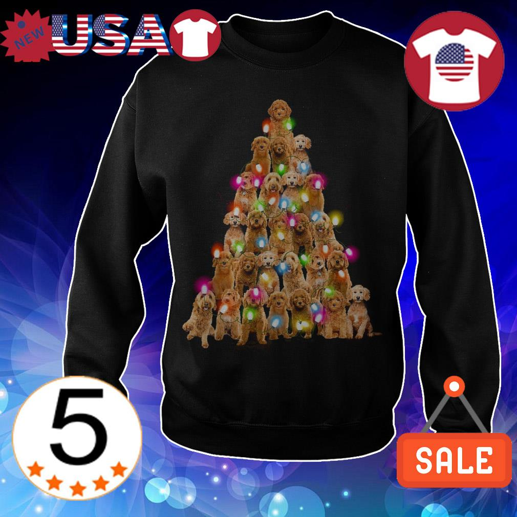Goldendoodle paws tree Crewneck Christmas sweatshirt