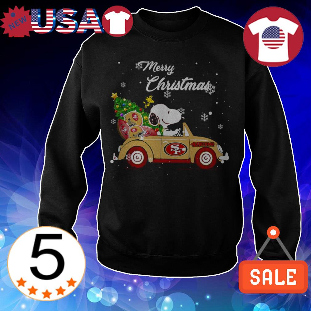 The Peanuts Snoopy driving San Francisco 49ers car Merry Christmas sweatshirt