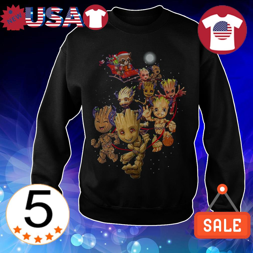 Groot reindeer and Rocket raccoon Santa Christmas sweatshirt