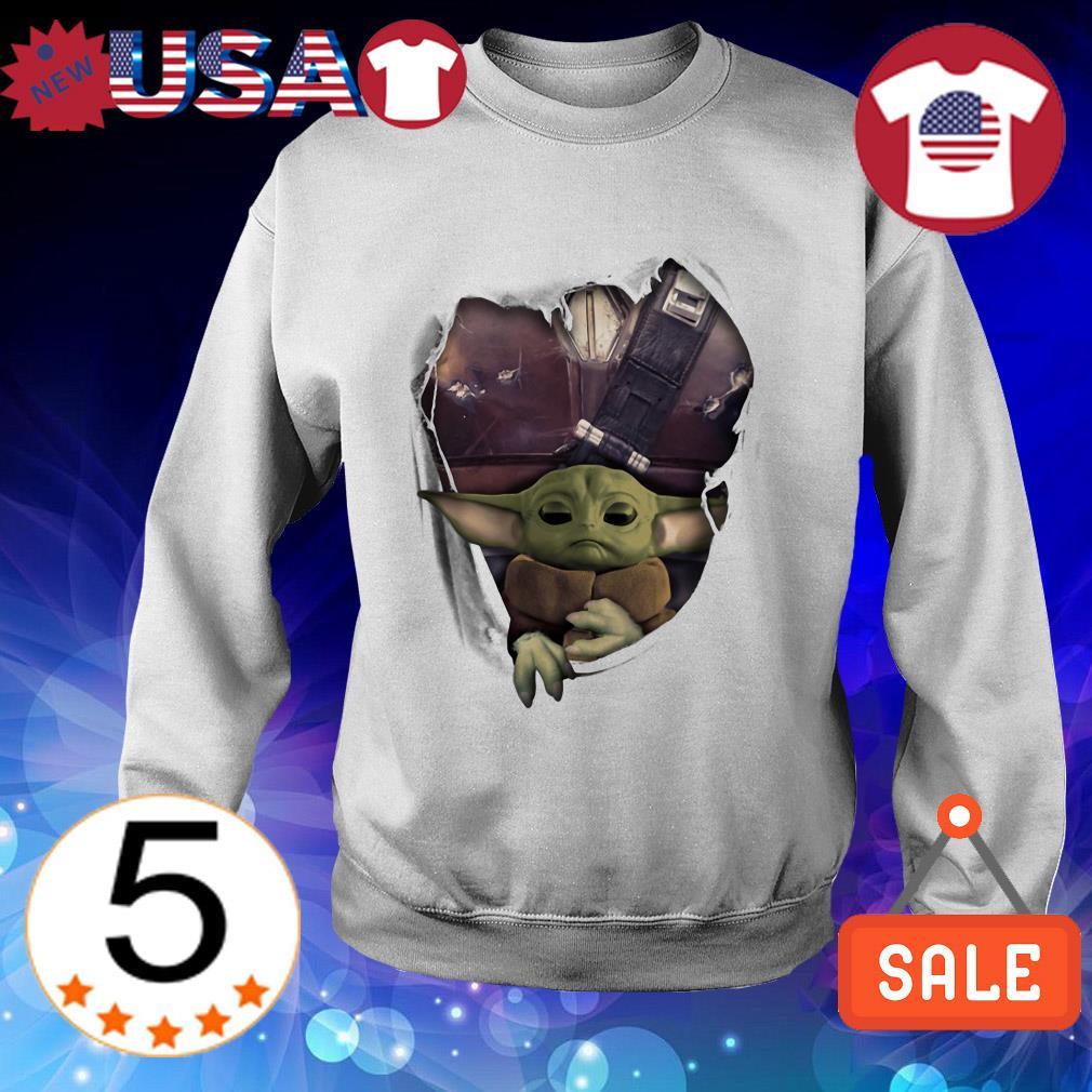 Star Wars Baby Yoda and The Mandalorian torn paper shirt