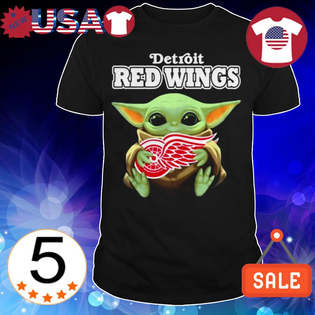 Official Star Wars Baby Yoda hug Detroit Red Wings shirt