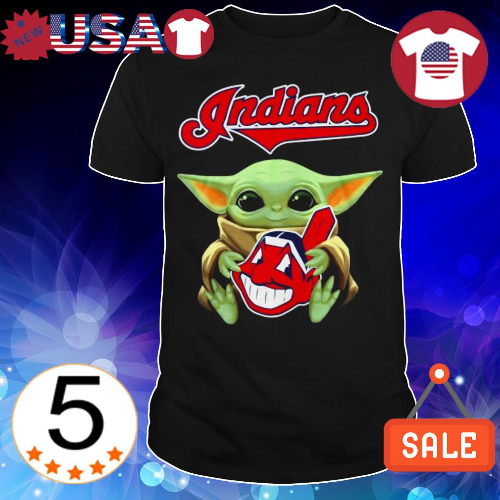 Official Star Wars Baby Yoda hug Cleveland Indians shirt