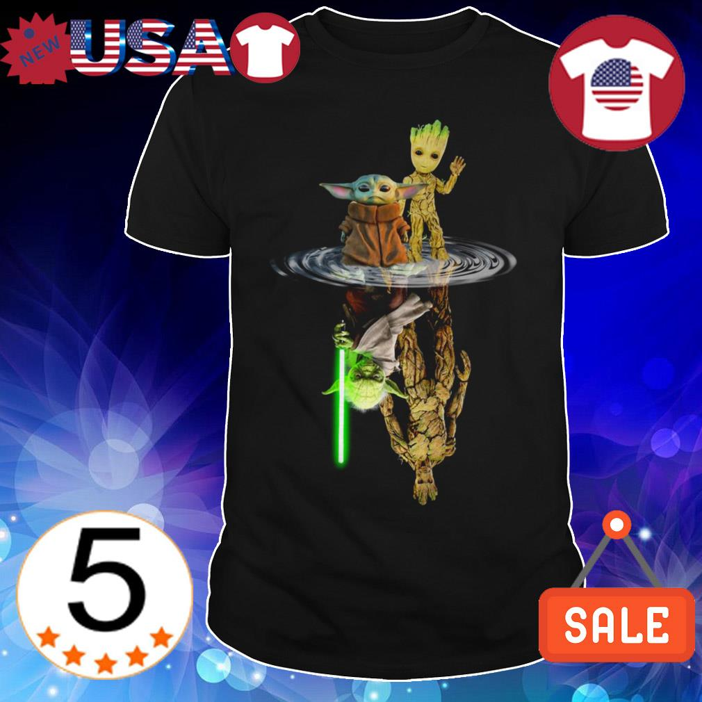 Star Wars Baby Yoda and Baby Groot mirror reflection shirt