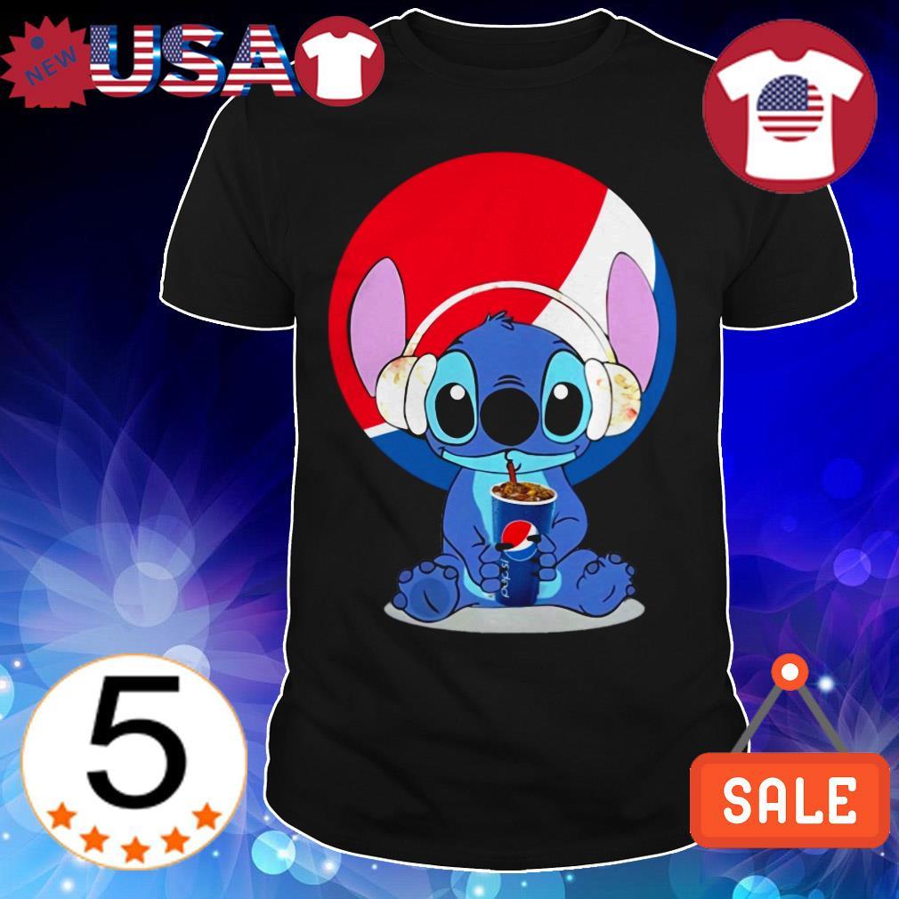 Stitch wearing headphone and drinking Pepsi shirt