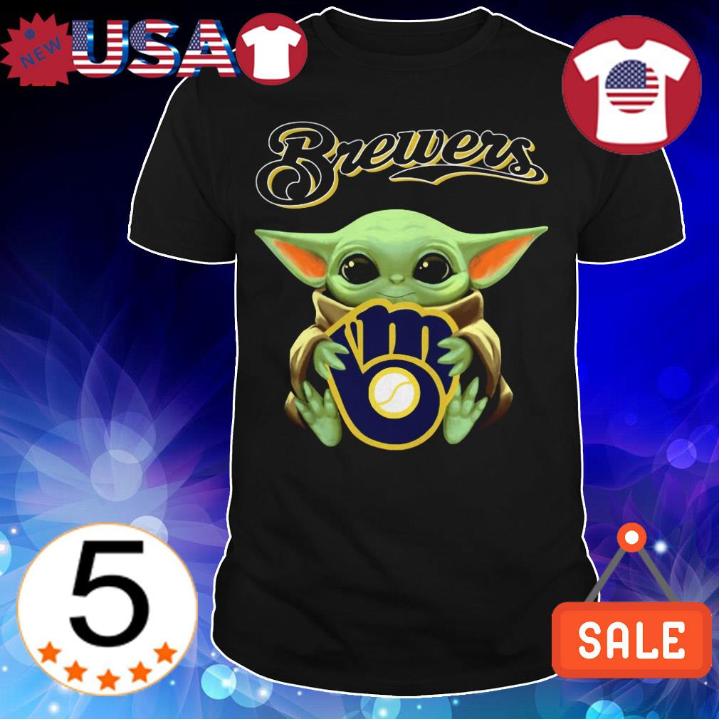 Star Wars Baby Yoda hug Milwaukee Brewers shirt