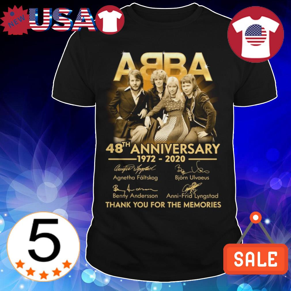 ABBA 48th anniversary 1972 2020 thank you for the memories signatures shirt