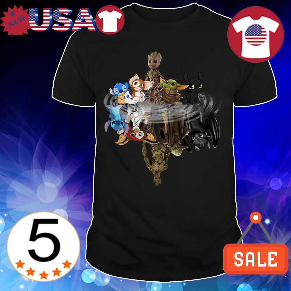 Baby Yoda Groot Stitch toothless and Gremlins mirror reflection shirt