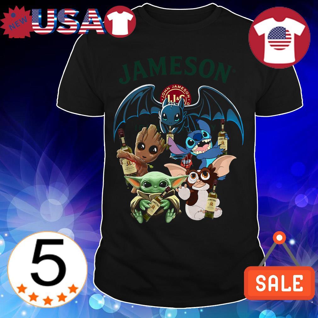 Jameson Irish Whiskey Baby Yoda Groot Stitch toothless and Gremlins shirt