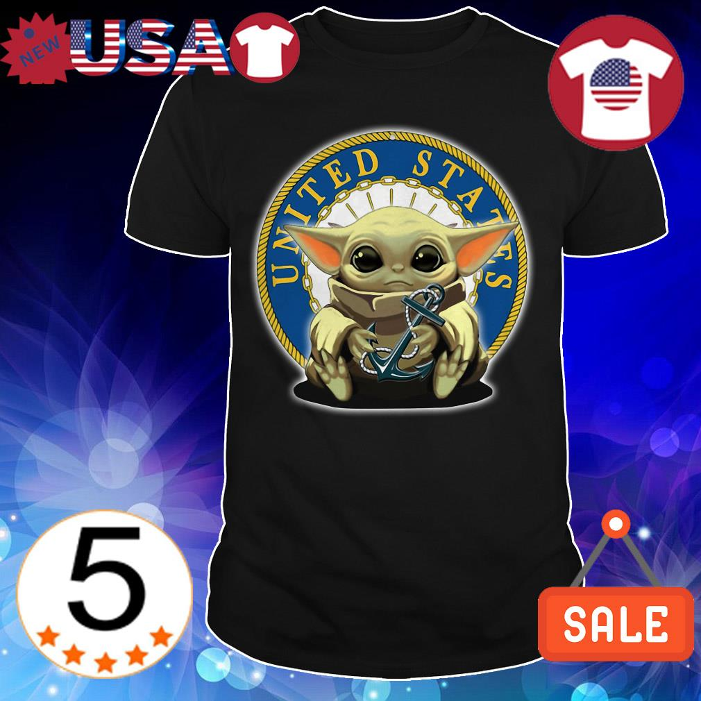 Star Wars Baby Yoda hug Navy United States shirt