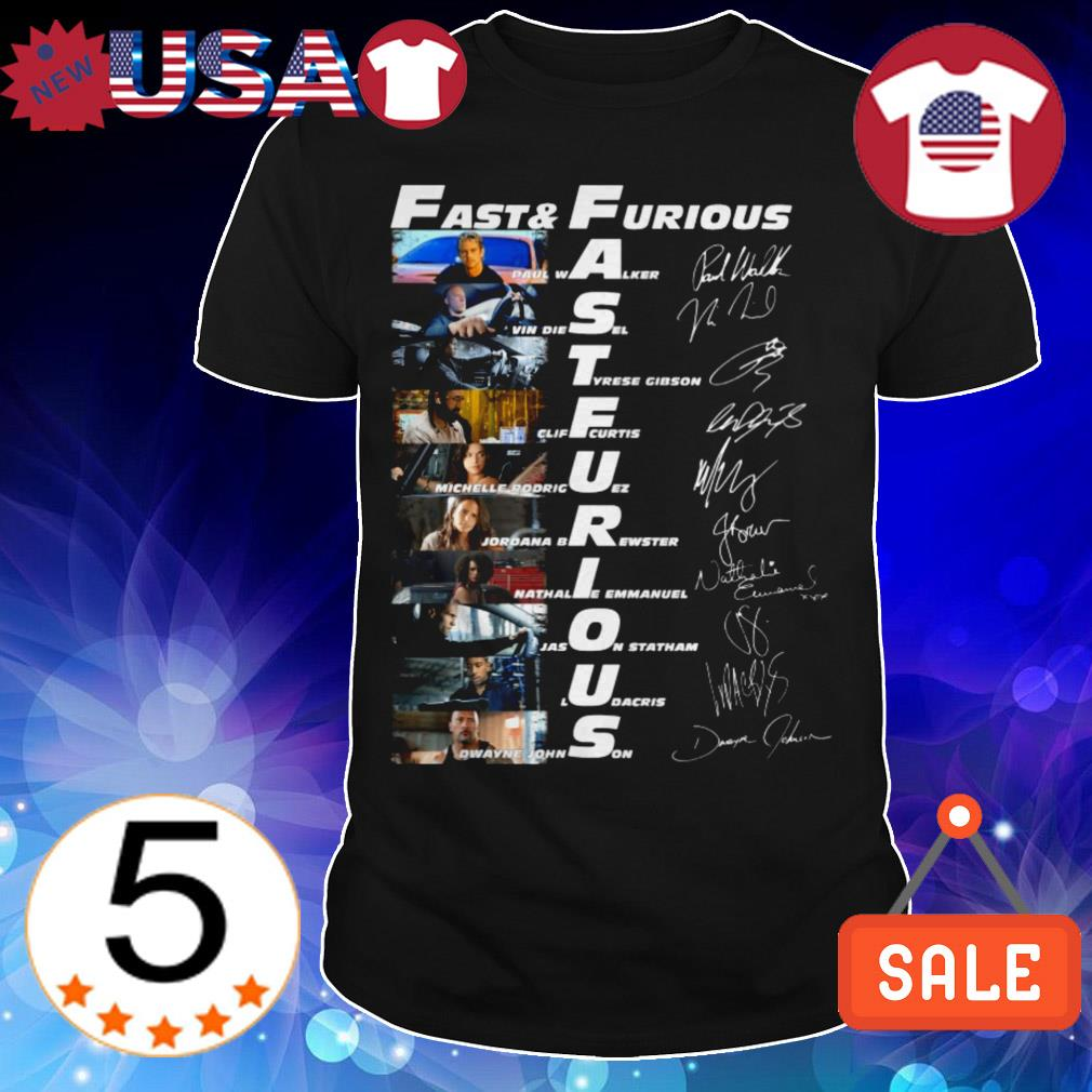 Fast and Furious film characters signatures shirt
