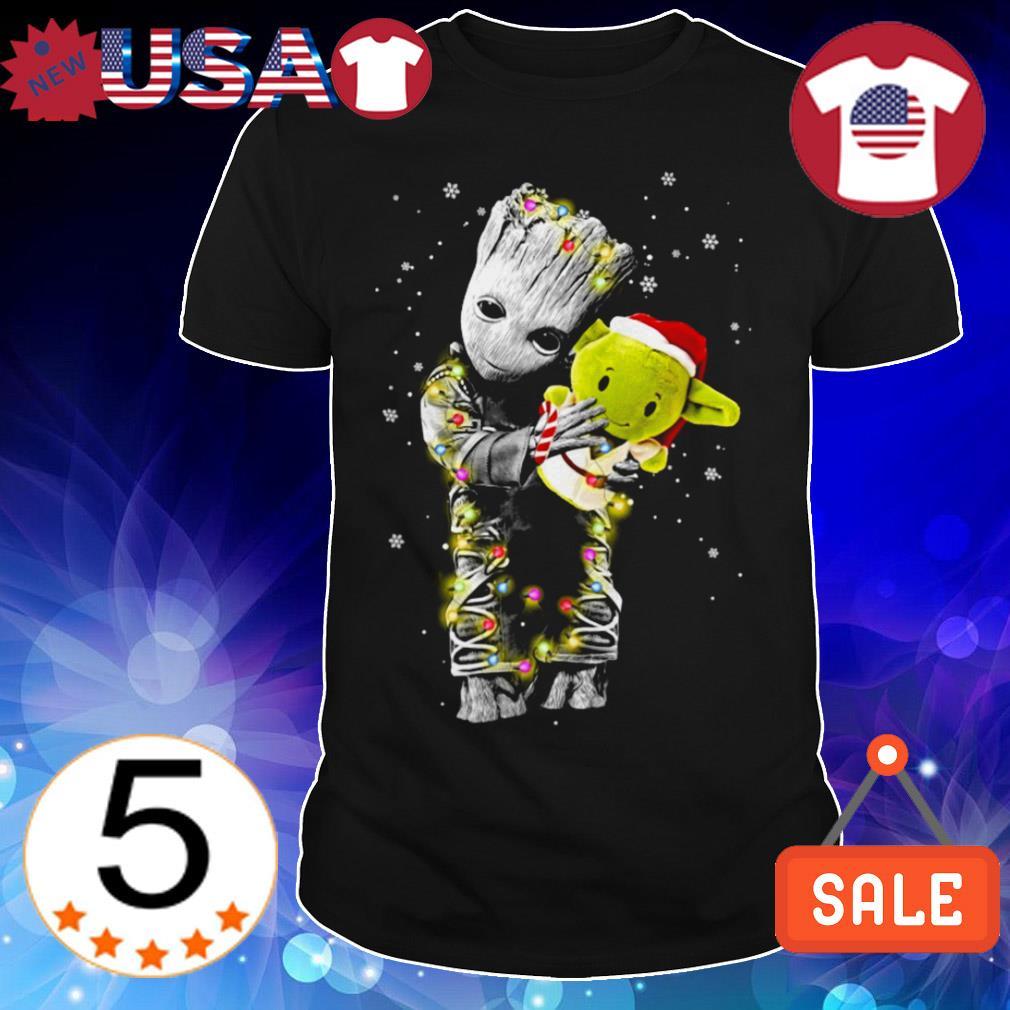 Baby Groot hug Baby Yoda Christmas sweatshirt