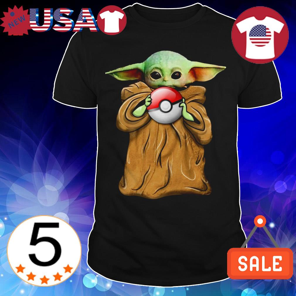 Star Wars Baby Yoda holding pokeball shirt
