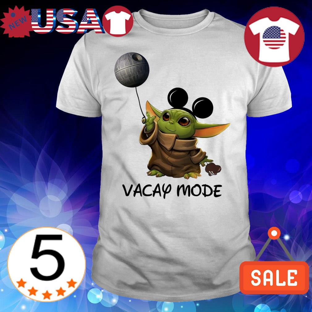 Star Wars Baby Yoda with Mickey Mouse ear death star shirt