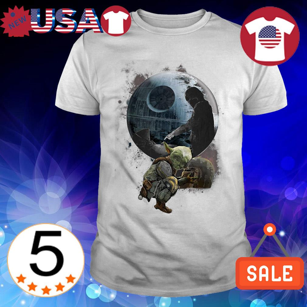 Star Wars Baby Yoda with Mandalorian helmet Death Star shirt