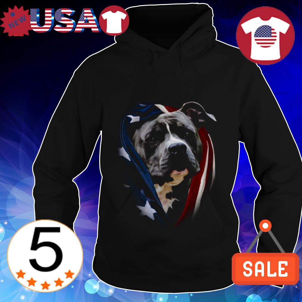 4th Of july independence day Pitbull American flag Hoodie