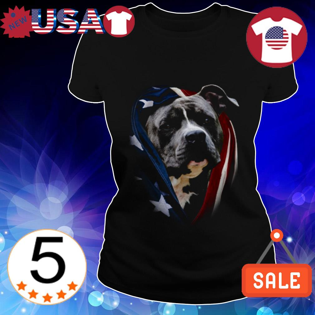 4th Of july independence day Pitbull American flag Ladies Tee