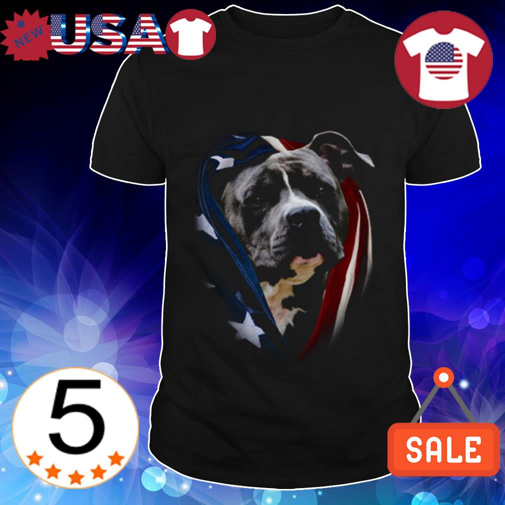 4th Of july independence day Pitbull American flag shirt