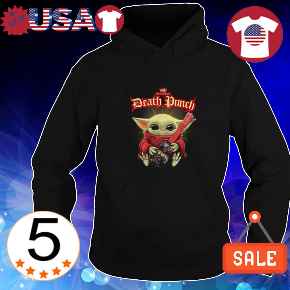 Baby Yoda hug guitar Five Finger Death Punch shirt