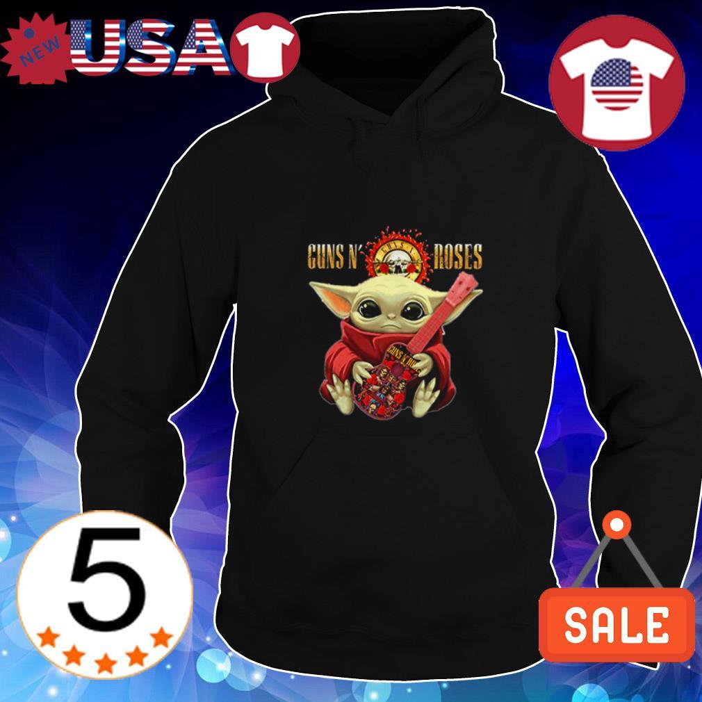 Baby Yoda hug Guns N' Roses guitar shirt