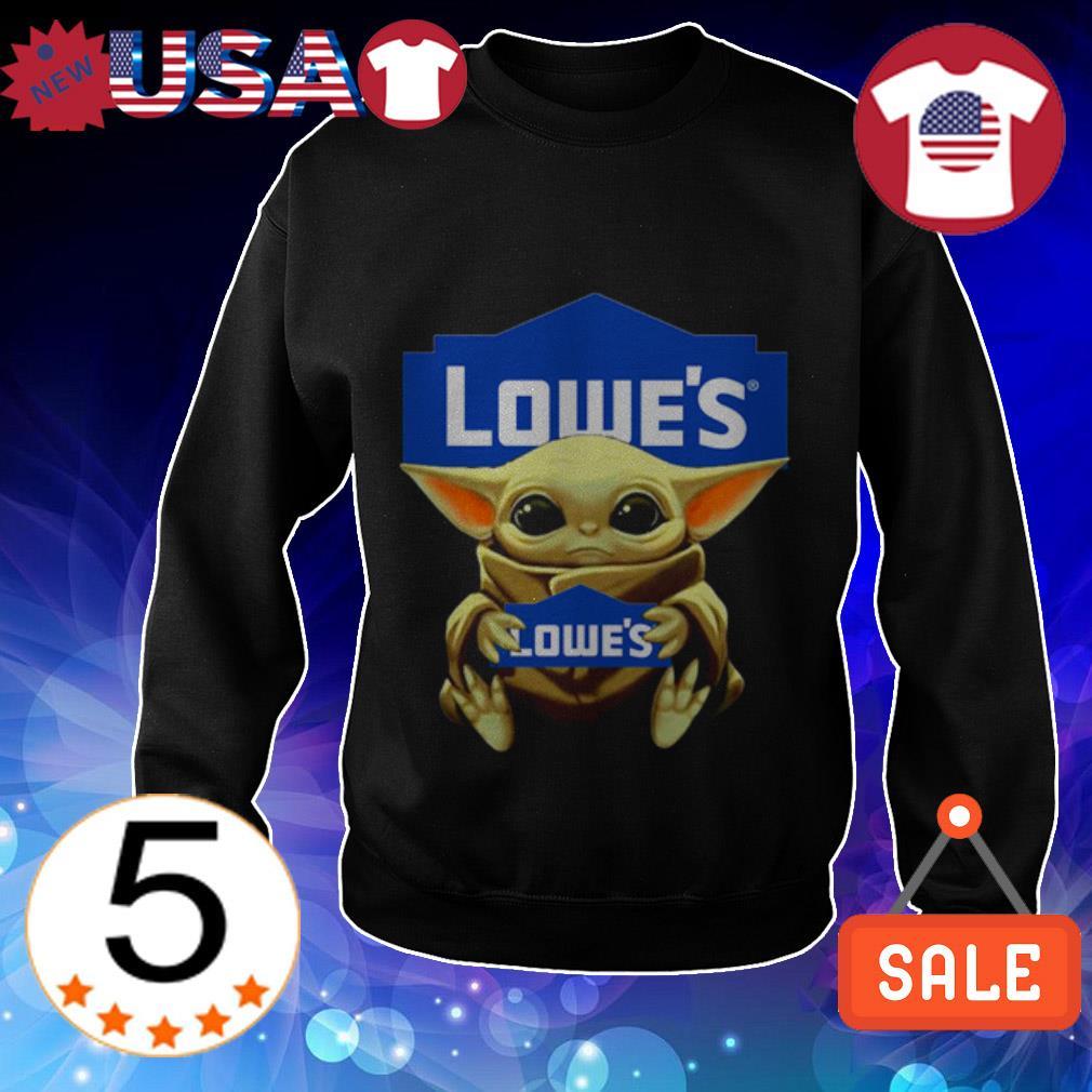Baby Yoda hug Lowe's shirt