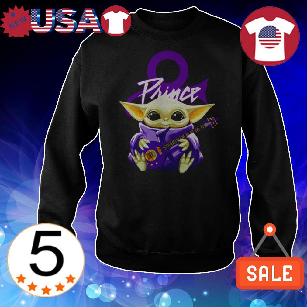 Star Wars Baby Yoda hug Prince guitar shirt