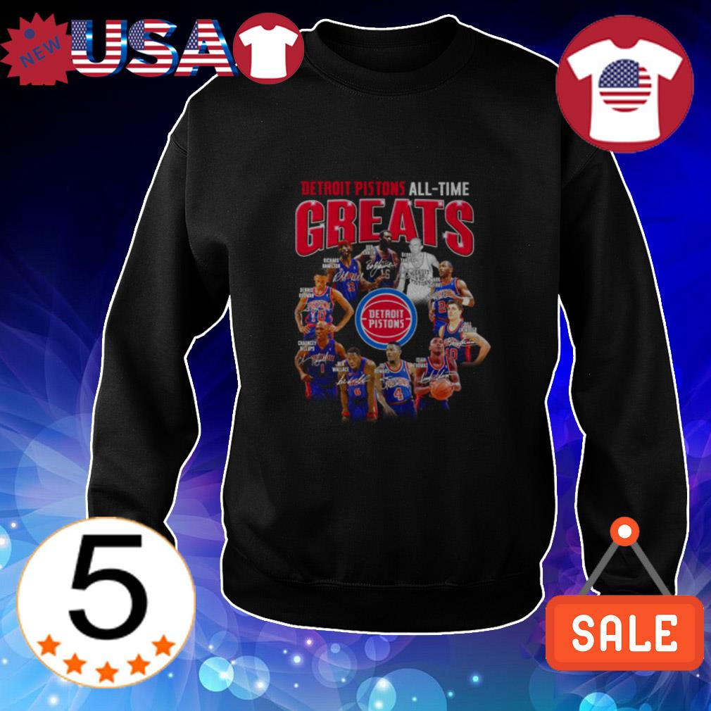 Detroit Pistons all-time greats players signatures shirt