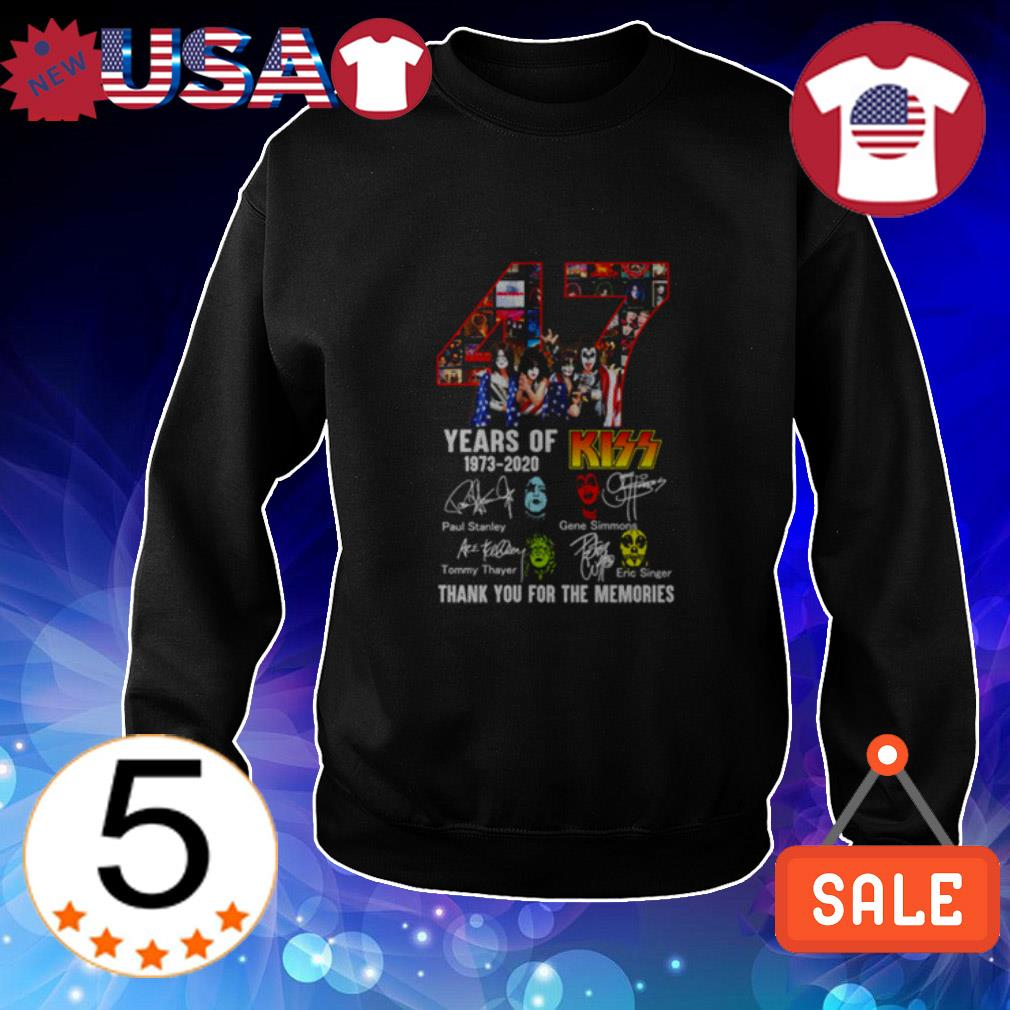 47 years of Kiss 1973 2020 thank you for the memories signatures shirt