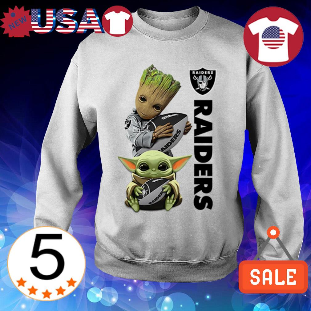 Baby Yoda and Baby Groot hug Oakland Raiders shirt