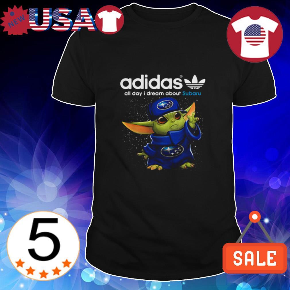 Adidas Baby Yoda all day i dream about Subaru shirt