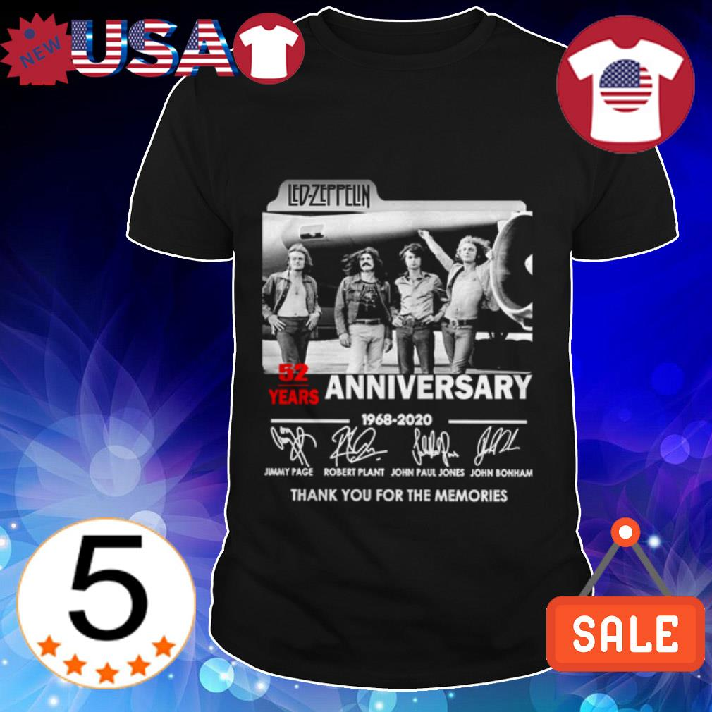 Led Zeppelin 52 years anniversary 1968 2020 thank you for the memories shirt