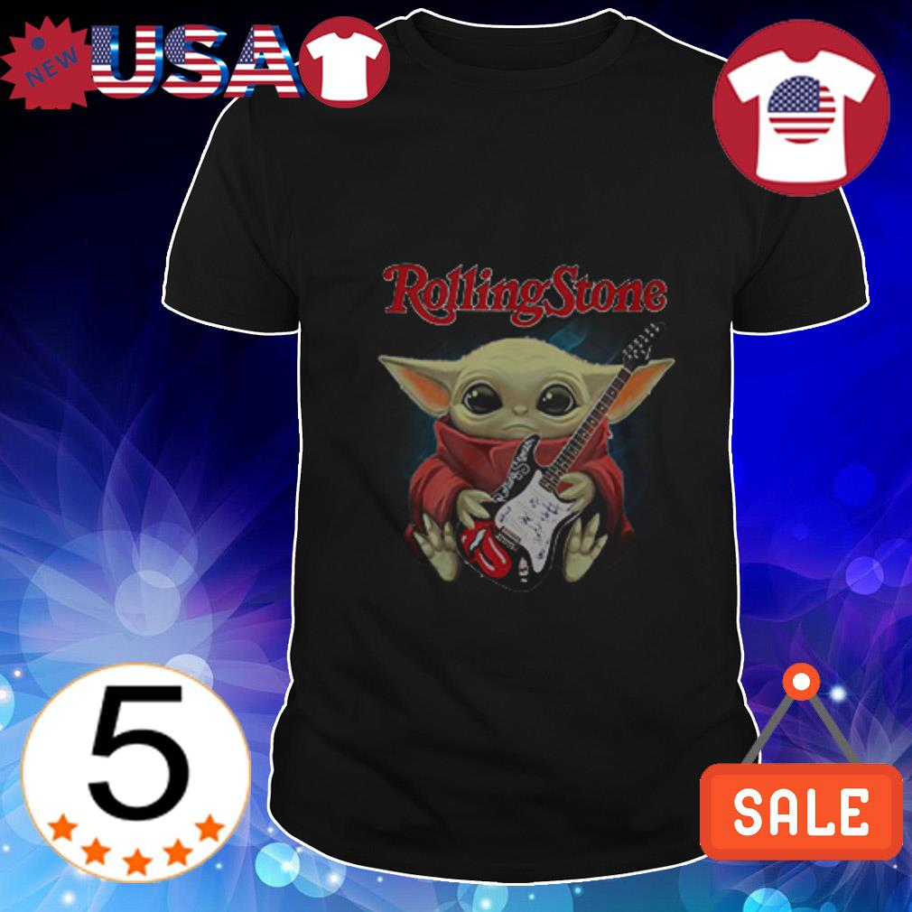 Star Wars Baby Yoda hug guitar Rolling Stone shirt