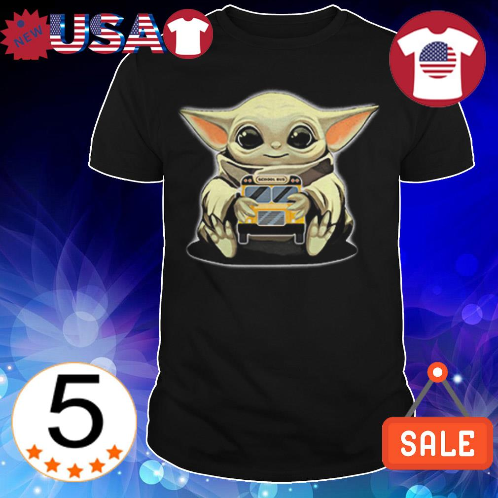 Star Wars Baby Yoda hug School Bus shirt