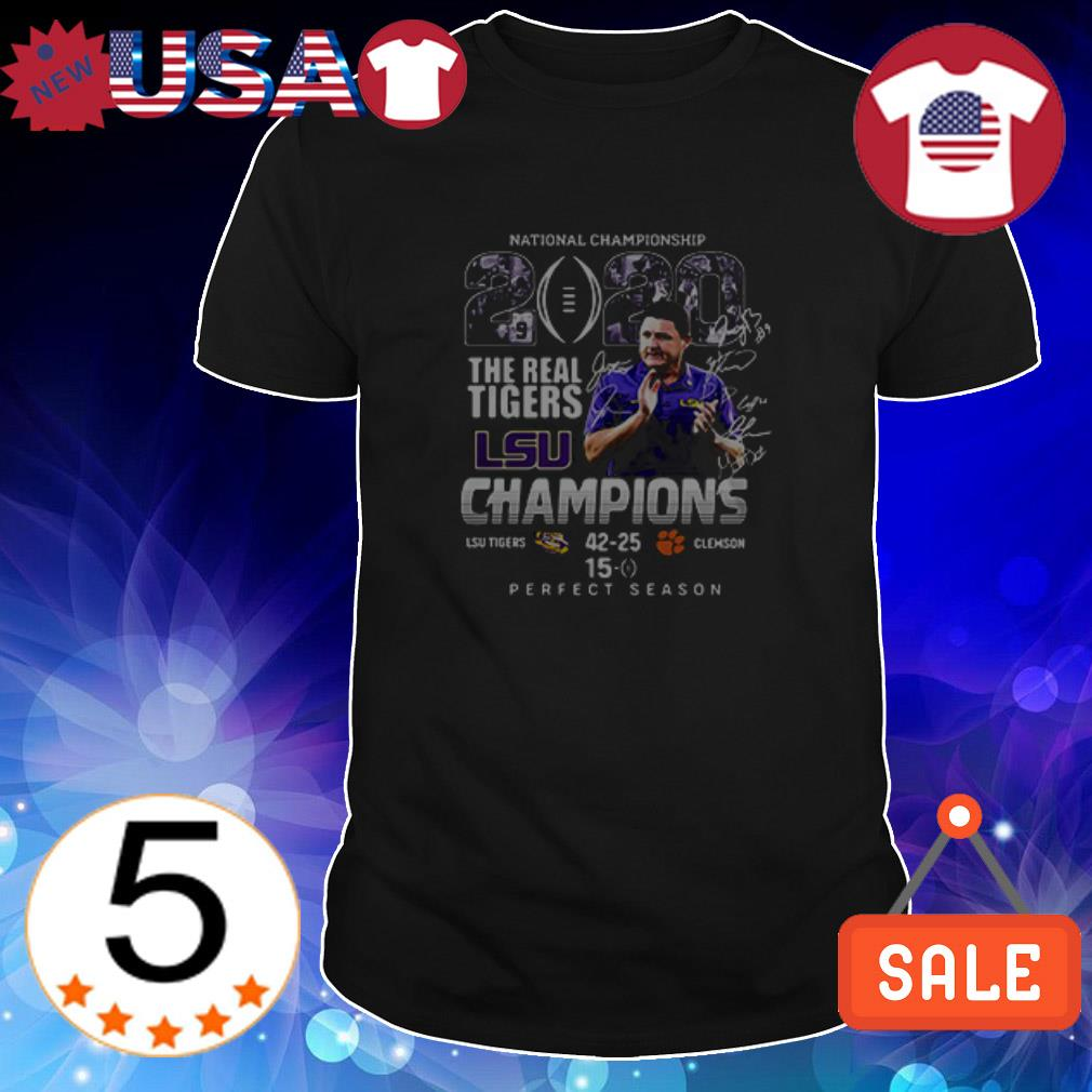 LSU The Real Tigers vs Clemson Tigers National Championship 2020 signatures shirt