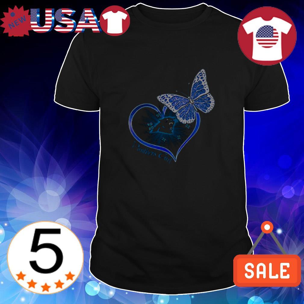 Carolina Panthers girl butterfly heart shirt