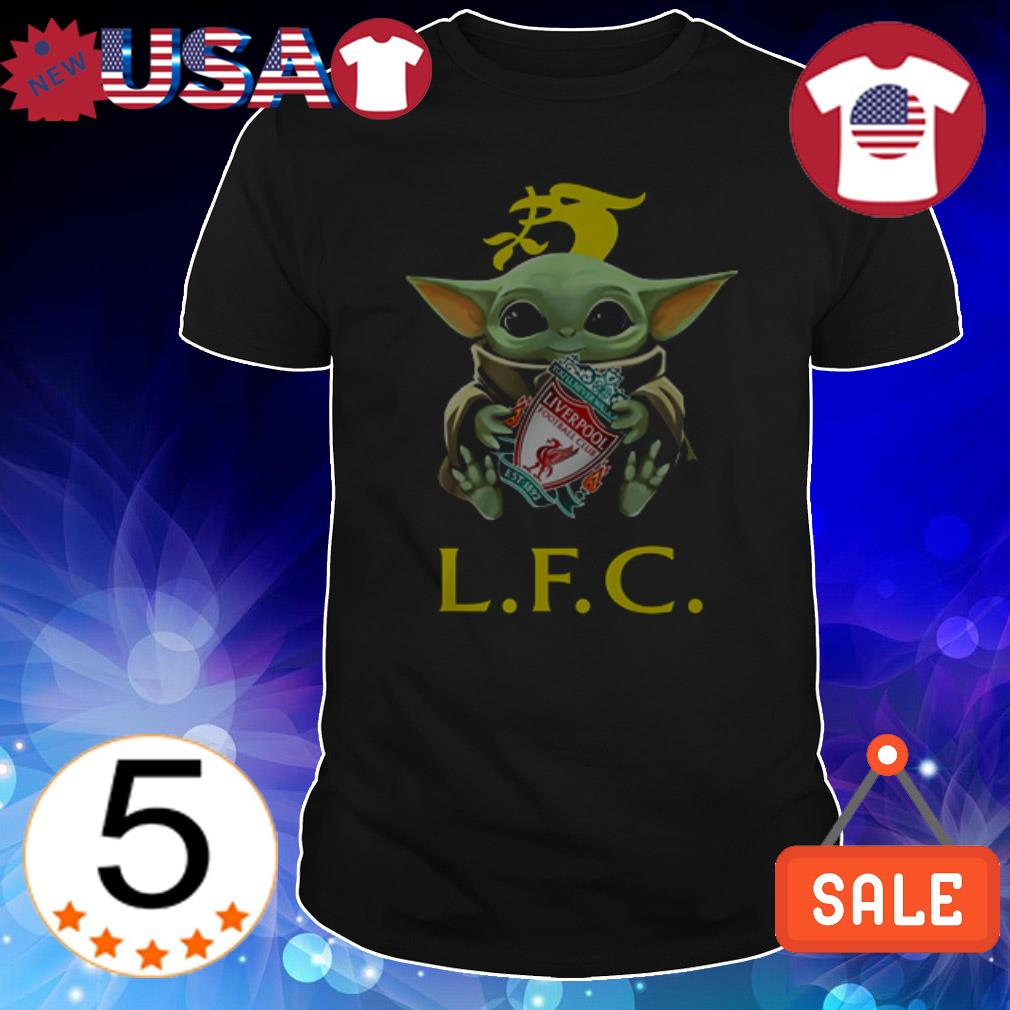 Star Wars Baby Yoda hug Liverpool FC shirt