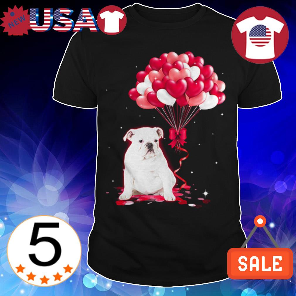 White English Bulldog love balloons shirt