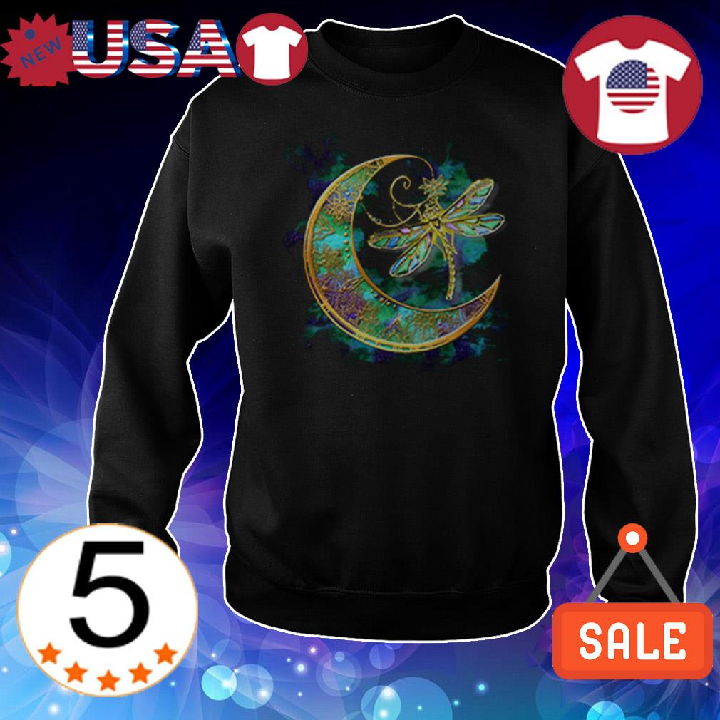Dragonfly and moon tattoo shirt