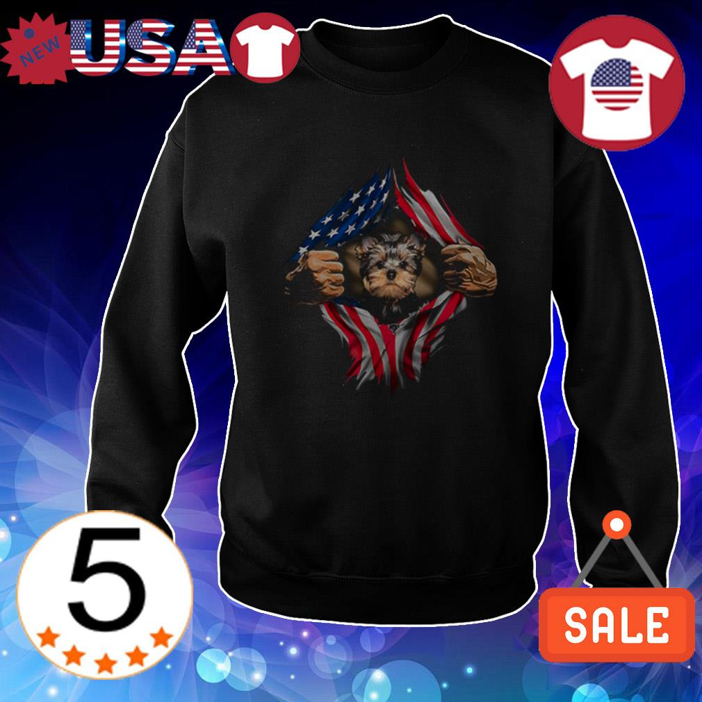 Yorkshire Terrier American Flag shirt