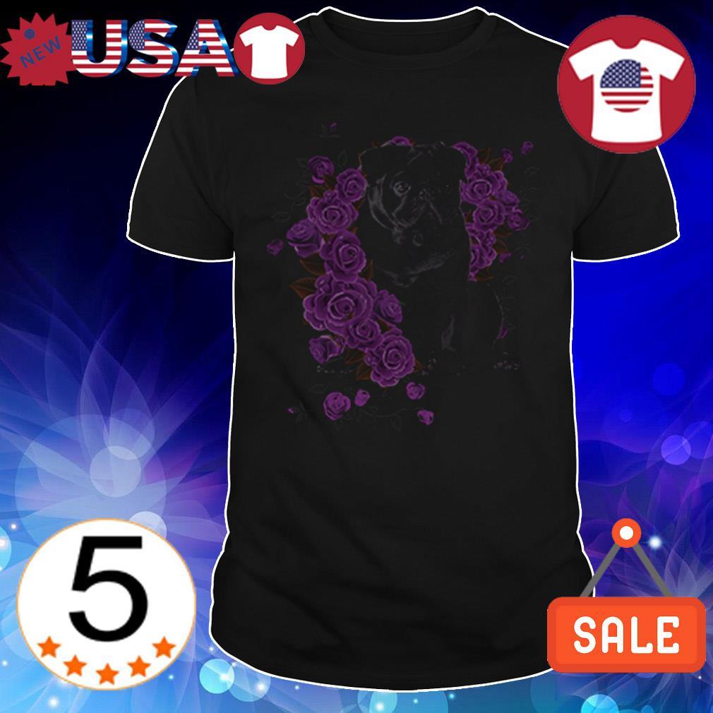 Pug purple roses Crewneck shirt