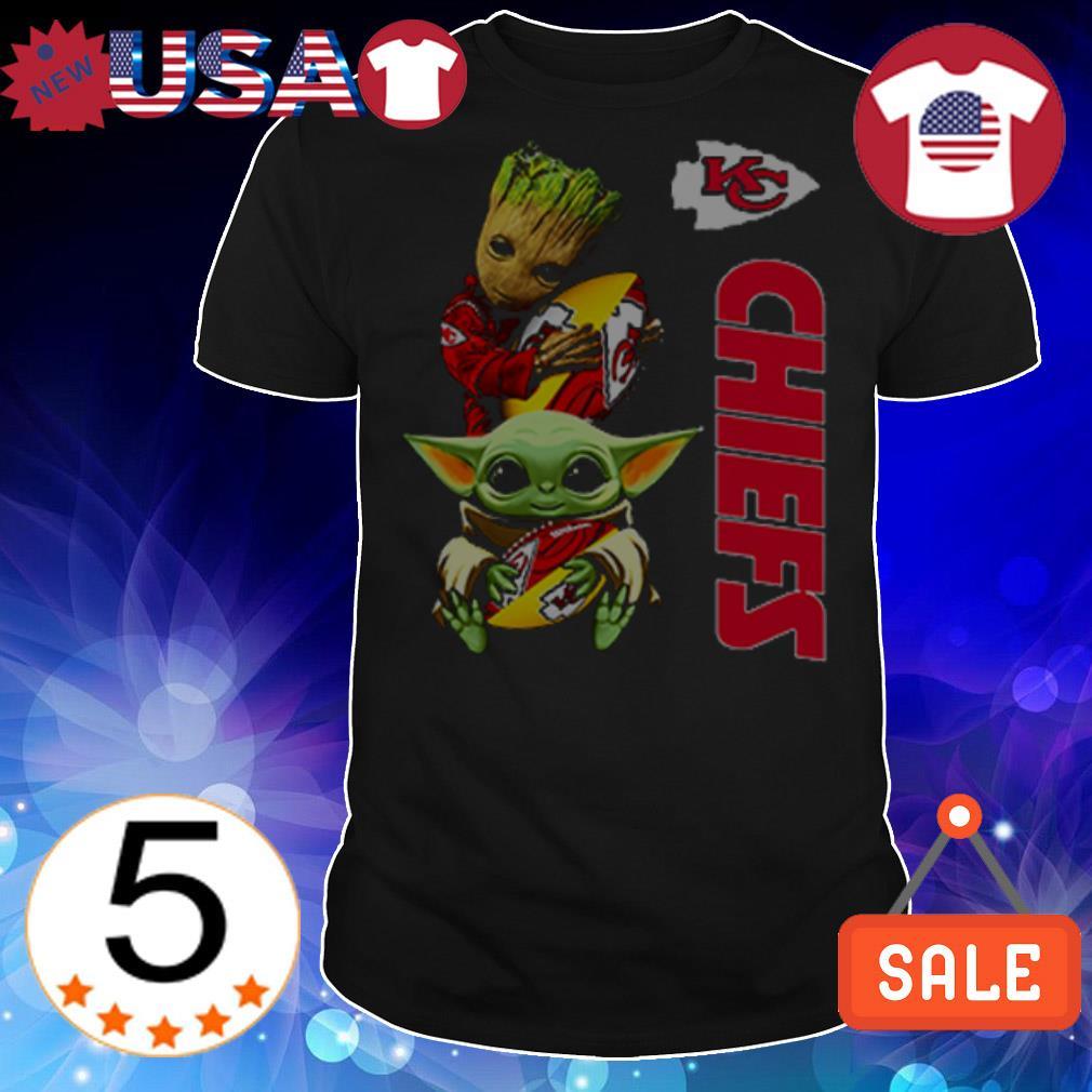 Baby Yoda and Baby Groot hug Kansas City Chiefs shirt